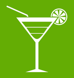 beach cocktail icon green vector image