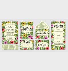 Beautiful wedding invitation set envelope table vector