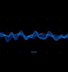 big data blue wave visualization futuristic vector image