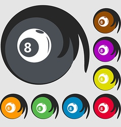 Billiards icon Symbols on eight colored buttons vector