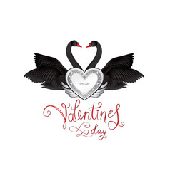 birds in love with winged silver heart decoration vector image