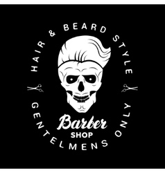 Black barbershop logo label badge with lettering vector