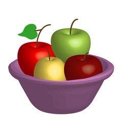 Bowl with apples vector