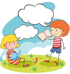 Boy and girl reading books in the park vector