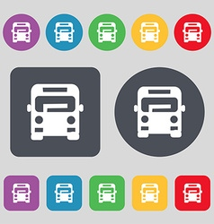 Bus icon sign A set of 12 colored buttons Flat vector