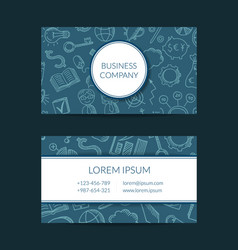 Business doodle icons business card vector