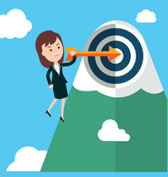 businesswoman hold arrow and shoot to the goal vector image