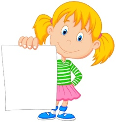 Cartoon girl holding blank paper vector
