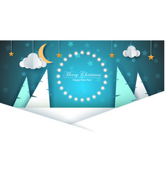 Cartoon paper new year merry christmas vector