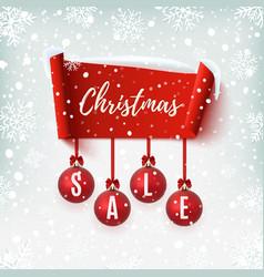Christmas sale banner with christmas tree vector
