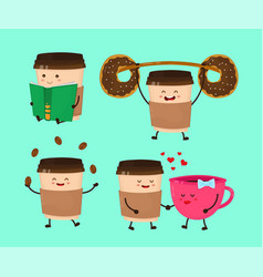 coffee paper cup flat style cartoon vector image