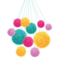 Colorful pom poms bunch hanging decorative vector