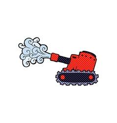 Comic cartoon army tank vector