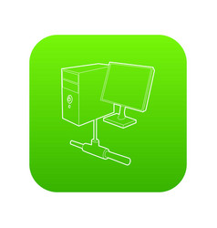 Computer monitor and cpu unit icon green vector