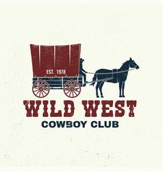 cowboy club badge t-shirt wild west vector image