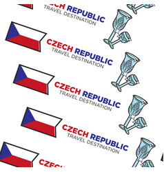 crystal glass and national flag czech republic vector image