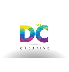 Dc d c colorful letter origami triangles design vector