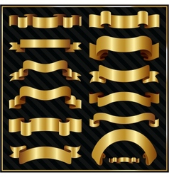 Decorative ornate gold ribbons vector
