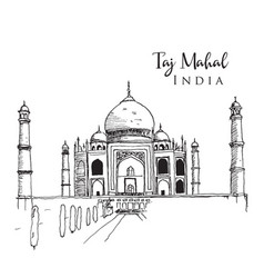 Drawing sketch taj mahal vector