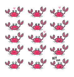 emoticons set of cute crab in cartoon style vector image