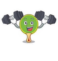 fitness ping pong racket character cartoon vector image