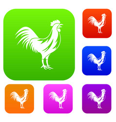 gallic rooster set collection vector image