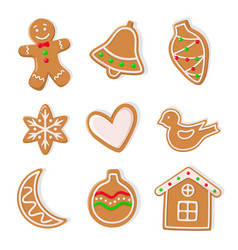 Gingerbread cookies man and bells hearts icons vector
