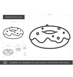Glazed donut line icon vector