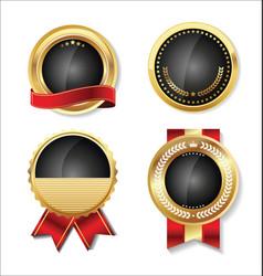 Golden empty badge collection 4 vector