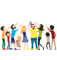 Group of people looking up vector
