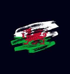 Grunge textured welsh flag vector