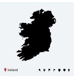 High detailed map of Ireland with navigation pins vector image