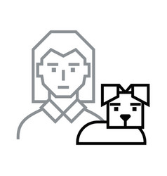 icon woman with dog vector image