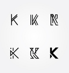 initial letter k logo typo pack vector image