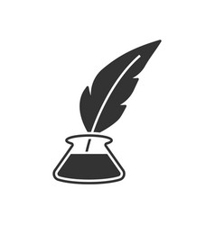 Inkwell with feather pen vector