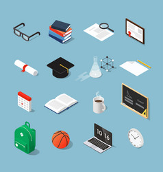 isometric education icon set vector image