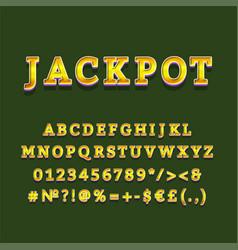 jackpot header vintage 3d alphabet set vector image