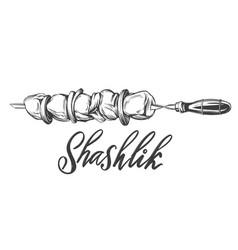 kebab shashlik grilled on a skewer food meat vector image