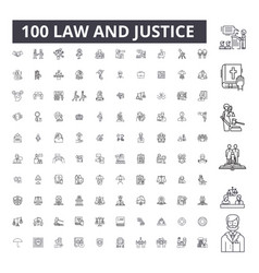 Law justice editable line icons 100 set vector