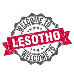 lesotho round ribbon seal vector image