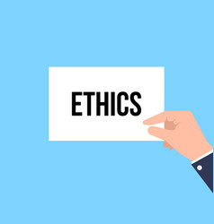 man showing paper ethics text vector image