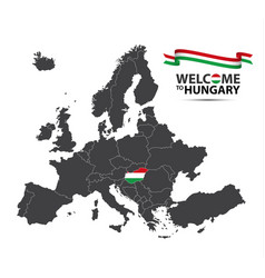 map of europe with the state of hungary vector image