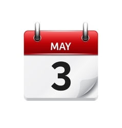 May 3 flat daily calendar icon date vector