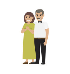 Middle-aged pair standing together flat vector