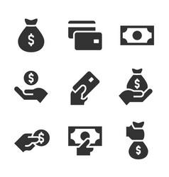 money black icons on white background money vector image