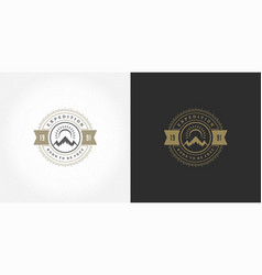 mountain camping logo emblem outdoor landscape vector image