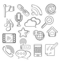 Multimedia and communication sketched icons vector image