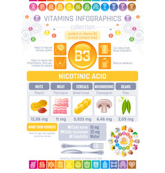 nicotinic acid vitamin b3 rich food icons healthy vector image