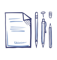 Office papers pen and pencil pin set sketch vector