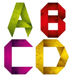 Origami alphabet letters A B C D vector image